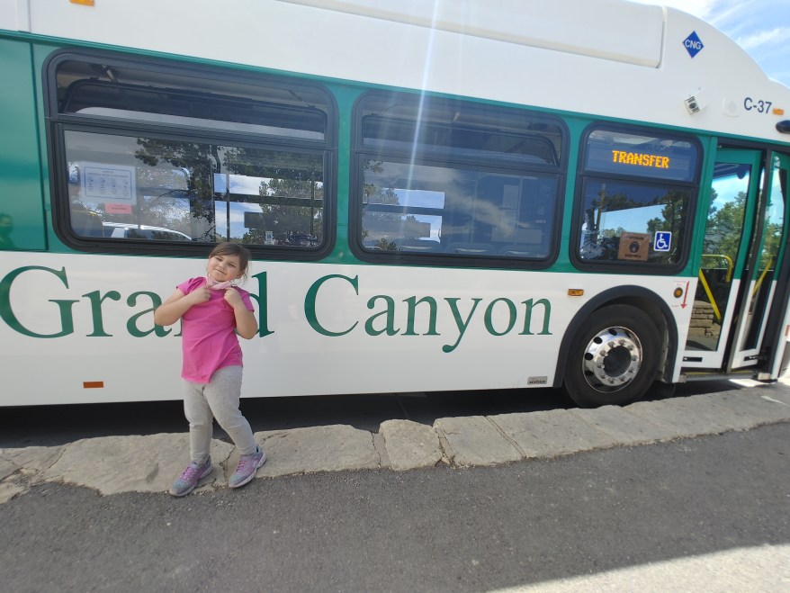 Hermit's Rest Route with kids: the free shuttle bus