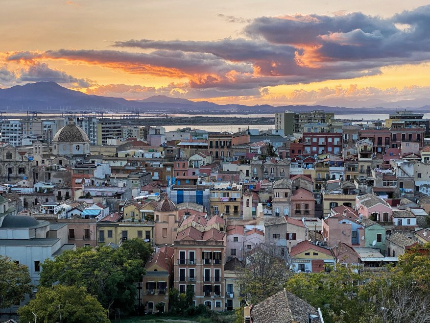 colorful buildings viewed from the Santa Croce Terrace cagliari
