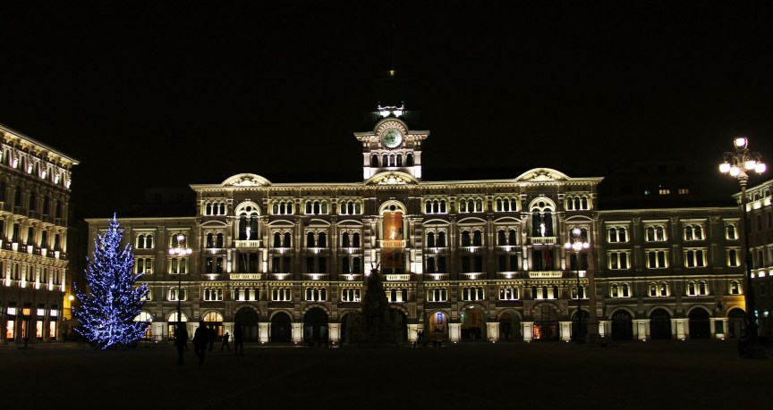 Trieste building, lights, family friendly cities in Italy