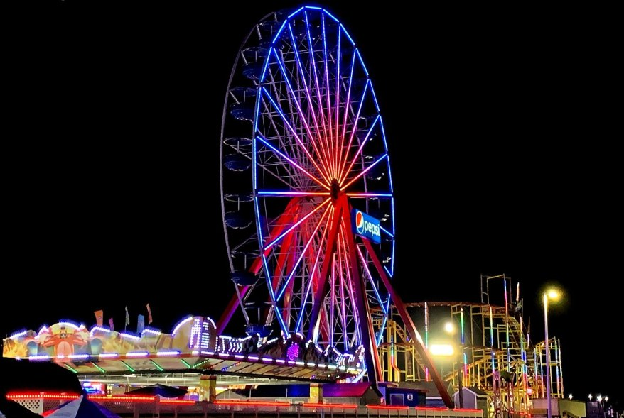 Ferris Wheel at Jolly Roger at the pier, top attraction when visiting Ocean City with kids