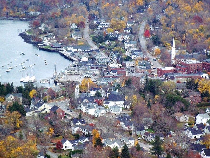 view of Camden, Maine from Mount Battie, Maine coast road trip