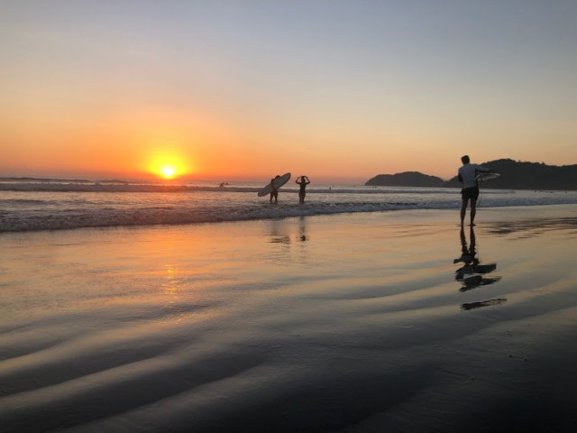 Jaco Beach Costa Rica Sunset & Surfers. 2019