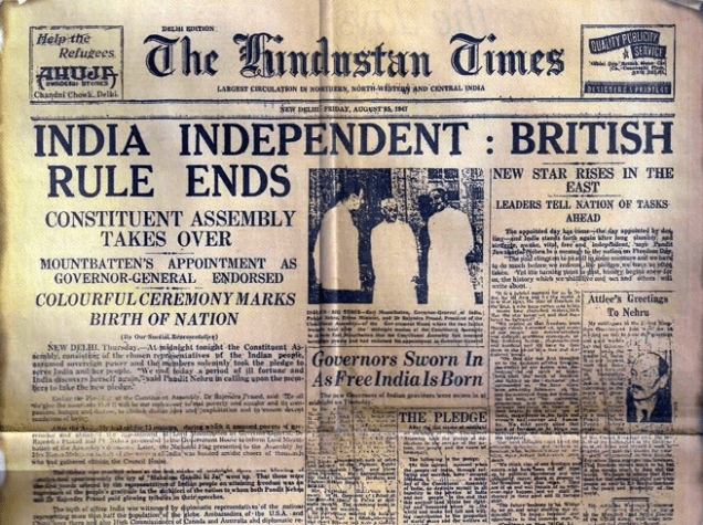 15 August 1947 The Hindustan Times