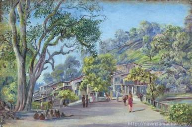 1878- Bridge at Tallital Bazaar, Nynee Tal. Painted by Marianne North in July 1878.
