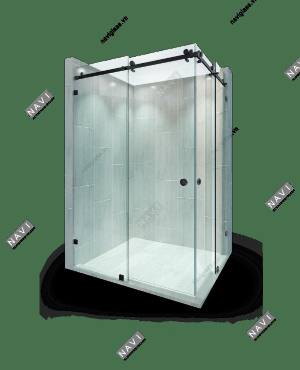 cửa lùa kính phụ kiện màu đen