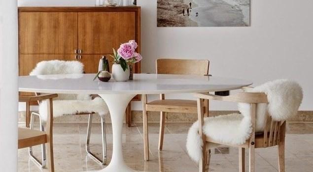 пол из мрамора в столовой