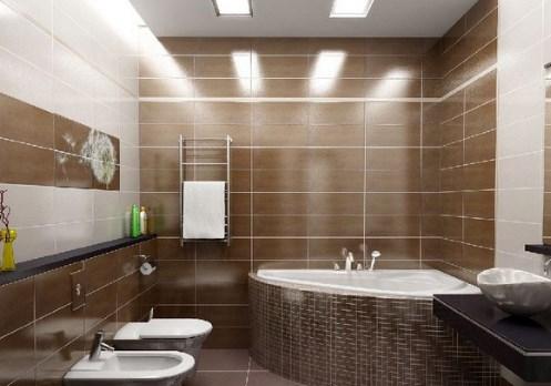 Плитка коричневого цвета в ванной комнате