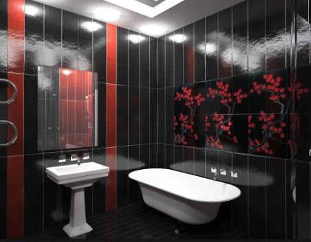 Черная плитка в ванной комнате. Фото