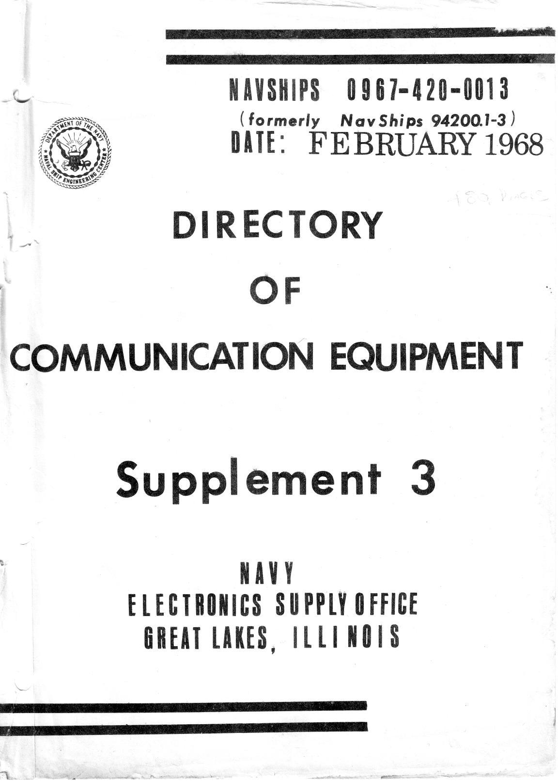 US Navy Directory of Communication Equipment NAVSHIPS 94200