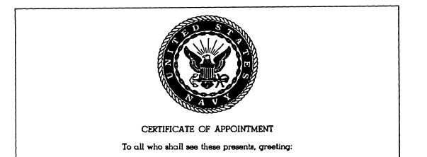 Figure 9-8.—Certificate of Appointment Petty Officer