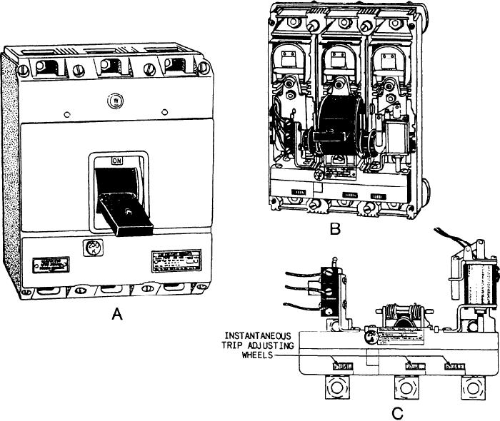 AQB-A250 circuit breaker. A. Front view. B. With cover