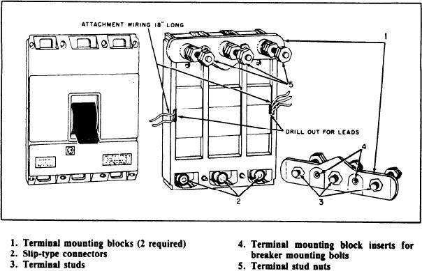 AQB-A250 circuit breaker, rear view, with terminal