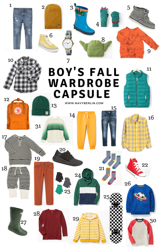Check out this ultimate Boy's Fall Wardrobe Capsule - www.navyberlin.com #kidsfallfashion #boymom