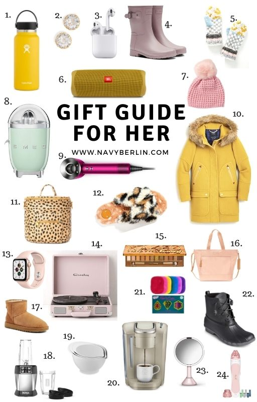 Ultimate gift guide for her. White collage with gift ideas for women