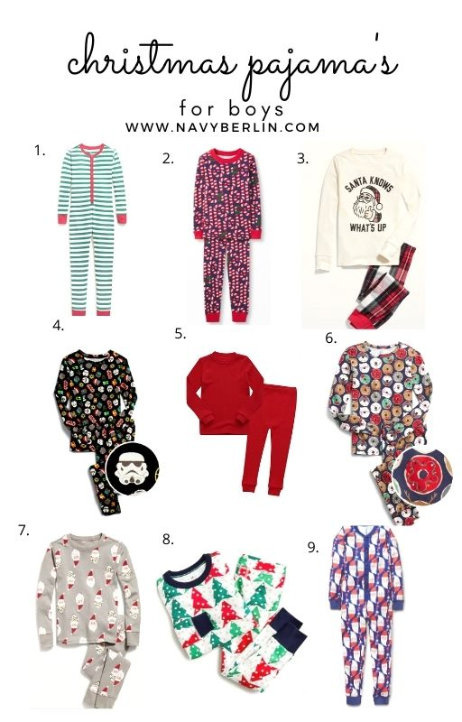 white background collage with boy christmas pajama's. top boy christmas pajama's for 2020