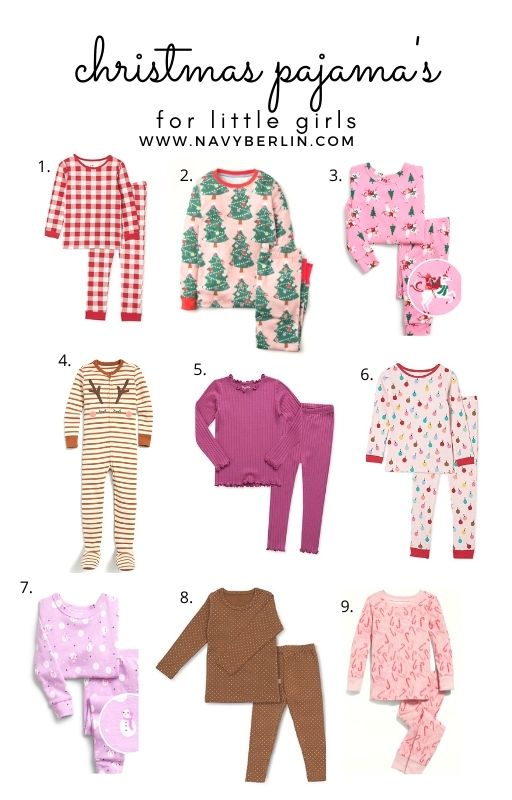 white picture collage of girls christmas pajama's. toddler christmas pajama's, little girl christmas pajama's