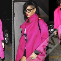 Rihanna was spotted arriving at a recording studio