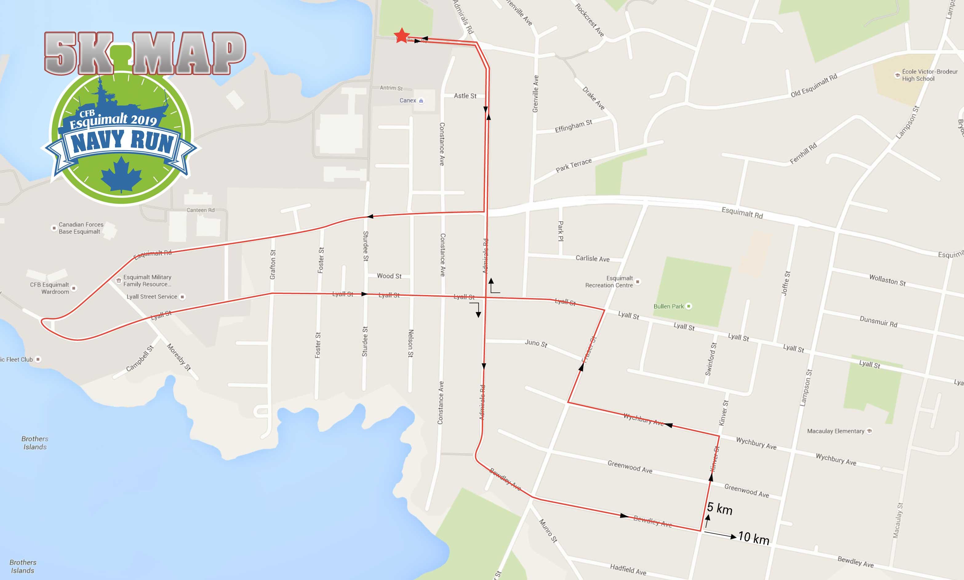 Esquimalt Navy Run 2019 5 km route map