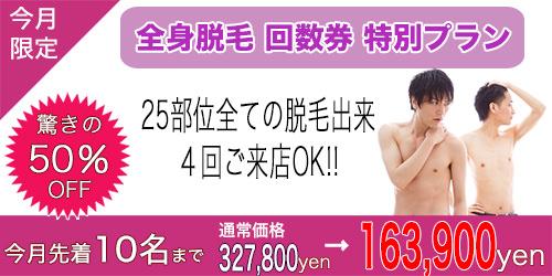 全身50%OFF - 【大阪鶴見店】メンズ脱毛サロンならNAX大阪鶴見店[メンズ脱毛専門店NAX]