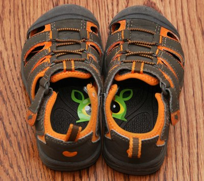 Parenting tip - stickers on kids shoes