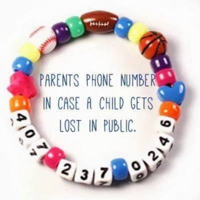 Parenting tip - bracelet with contact number