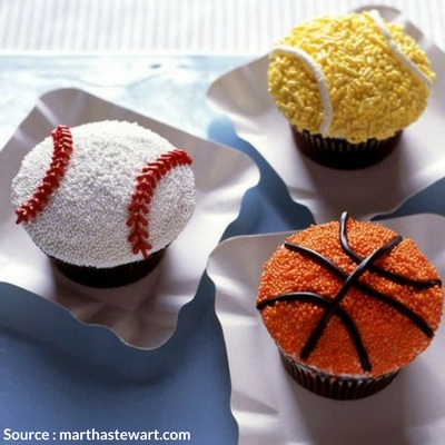 Sports themed cupcakes