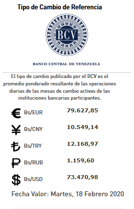 valor de referencia BCV