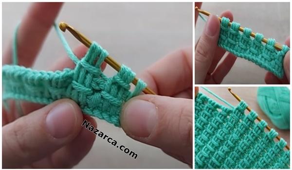 3 İLMEK ALMALI TUNUS MODELİ: Super Easy Tunisian Knitting