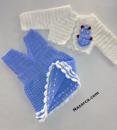 mavi-elbise-beyaz-cicekli-yelek