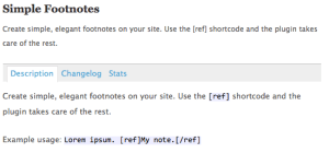 Simple Footnotes Plugin