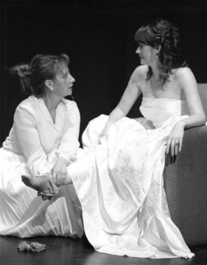 """Michelle Daigle and Meghan Mesheau in """"Even Cowgirls Get Hitched"""" 2004 One Act by Jennifer Roberge-Renaud (photo: Stephen Moss)"""