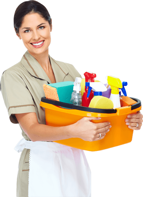 Maid Holds Orange Bucket of Cleaning Supplies