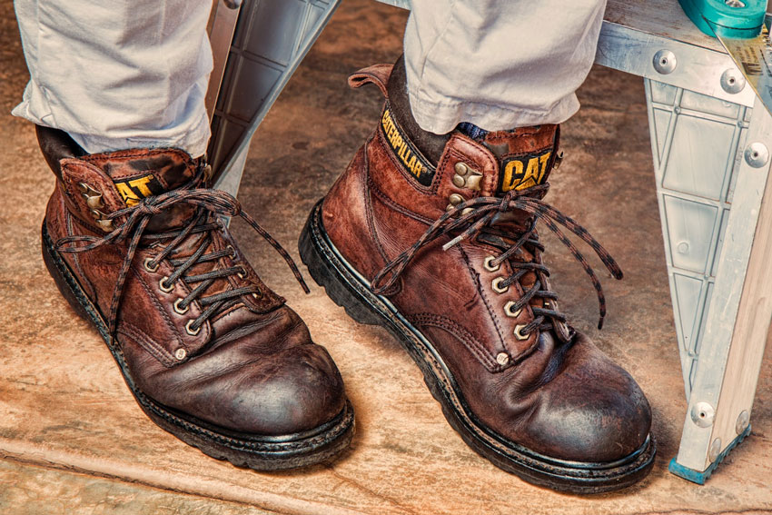 Brown, durable leather boots.