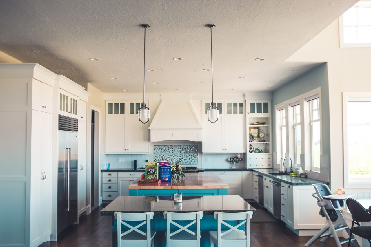 A bright white and blue kitchen home remodel