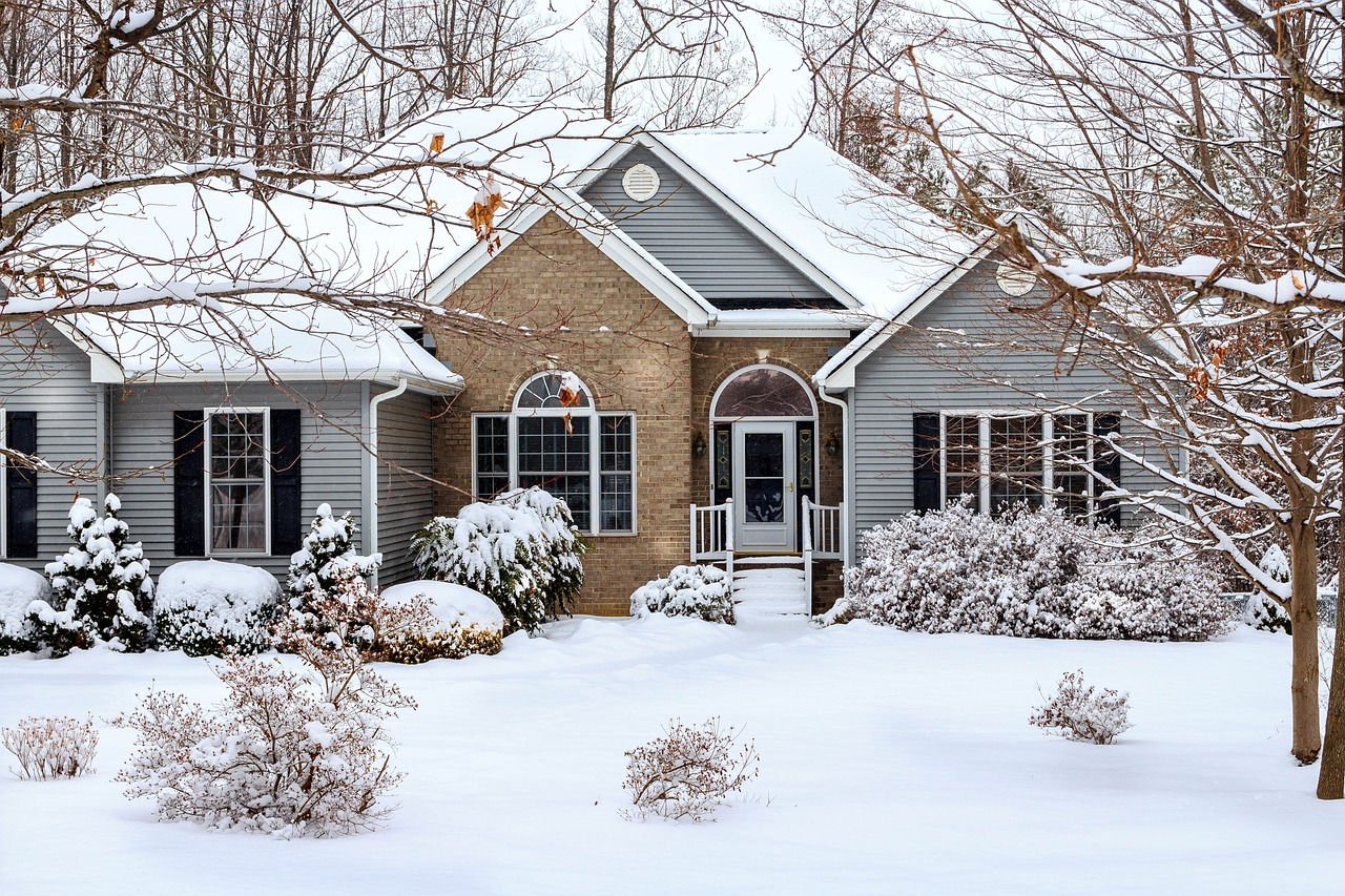 Snow-covered home in winter.