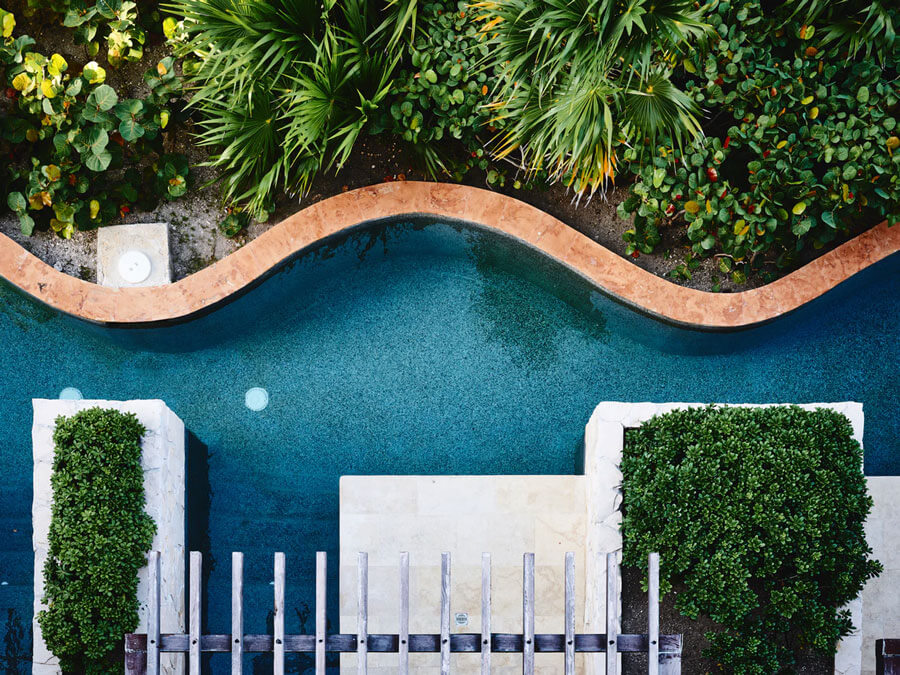 Aerial view of a modern swimming pool and greenery.