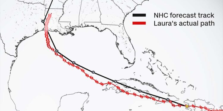 The National Hurricane Center's track prediction for Laura