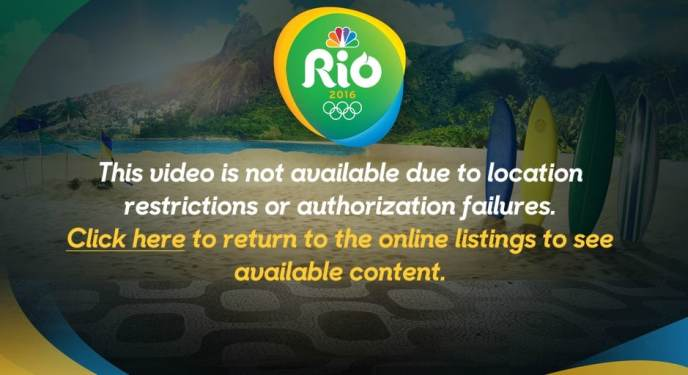 Error message if you try to watch the Summer Olympics on NBC online from abroad