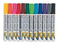 Pennarelli per tessuti/colori assortiti, set da 12 - Opitec