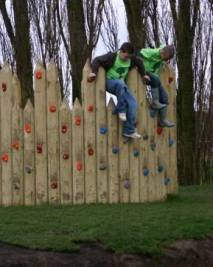 Stockade with climbing wall at Emneth, Norfolke