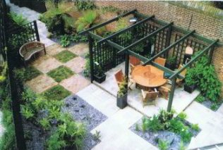 After- showing good use of floorscape at an angle and a pergola to break up the view to the end. Designed by Fiona Edmond of Green Island Gardens