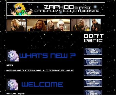 The Hitchhiker's unofficial movie website hijacked by Zaphod
