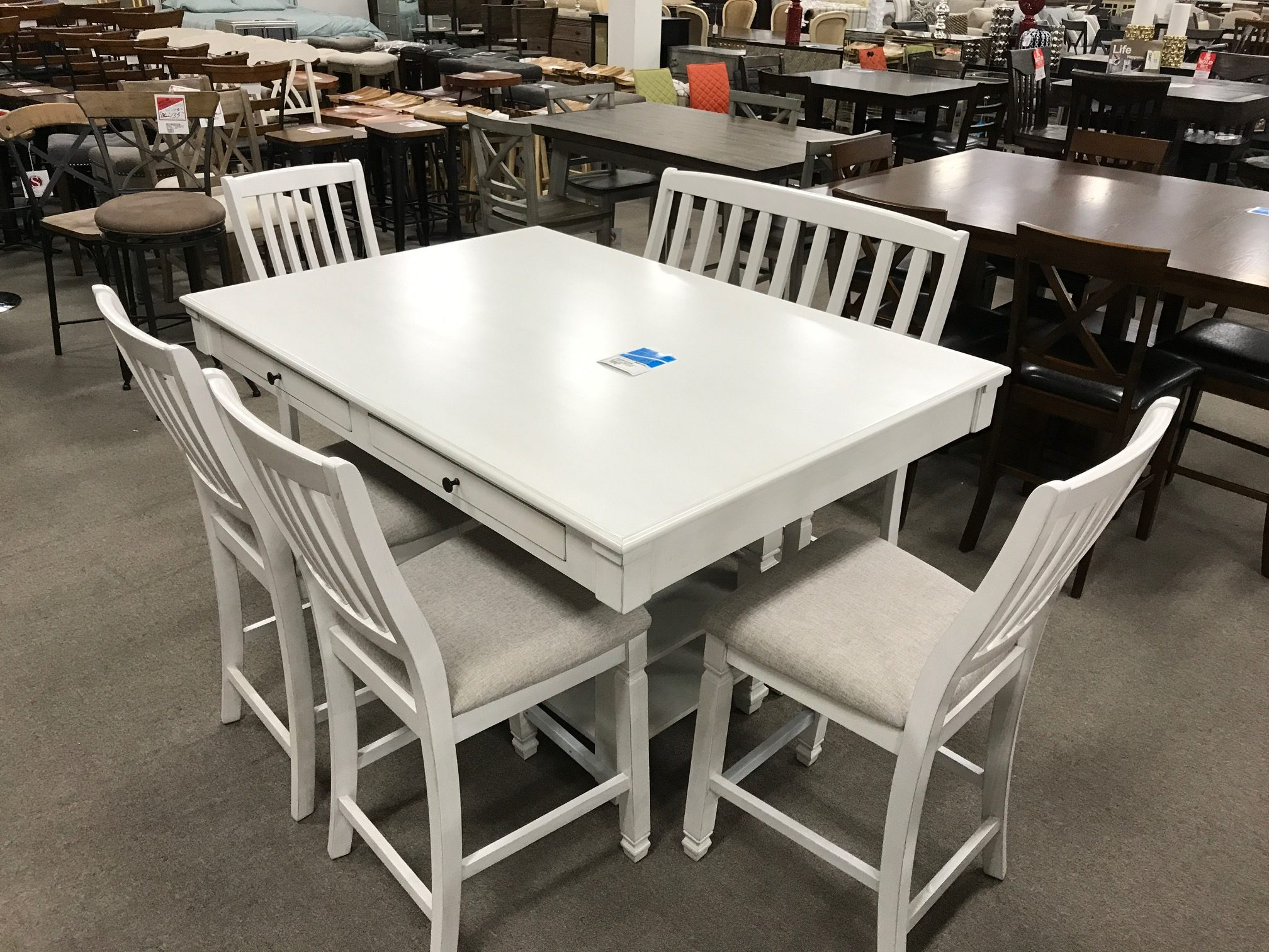 Milk White 6pc Dining Room Set Heavner Furniture Market