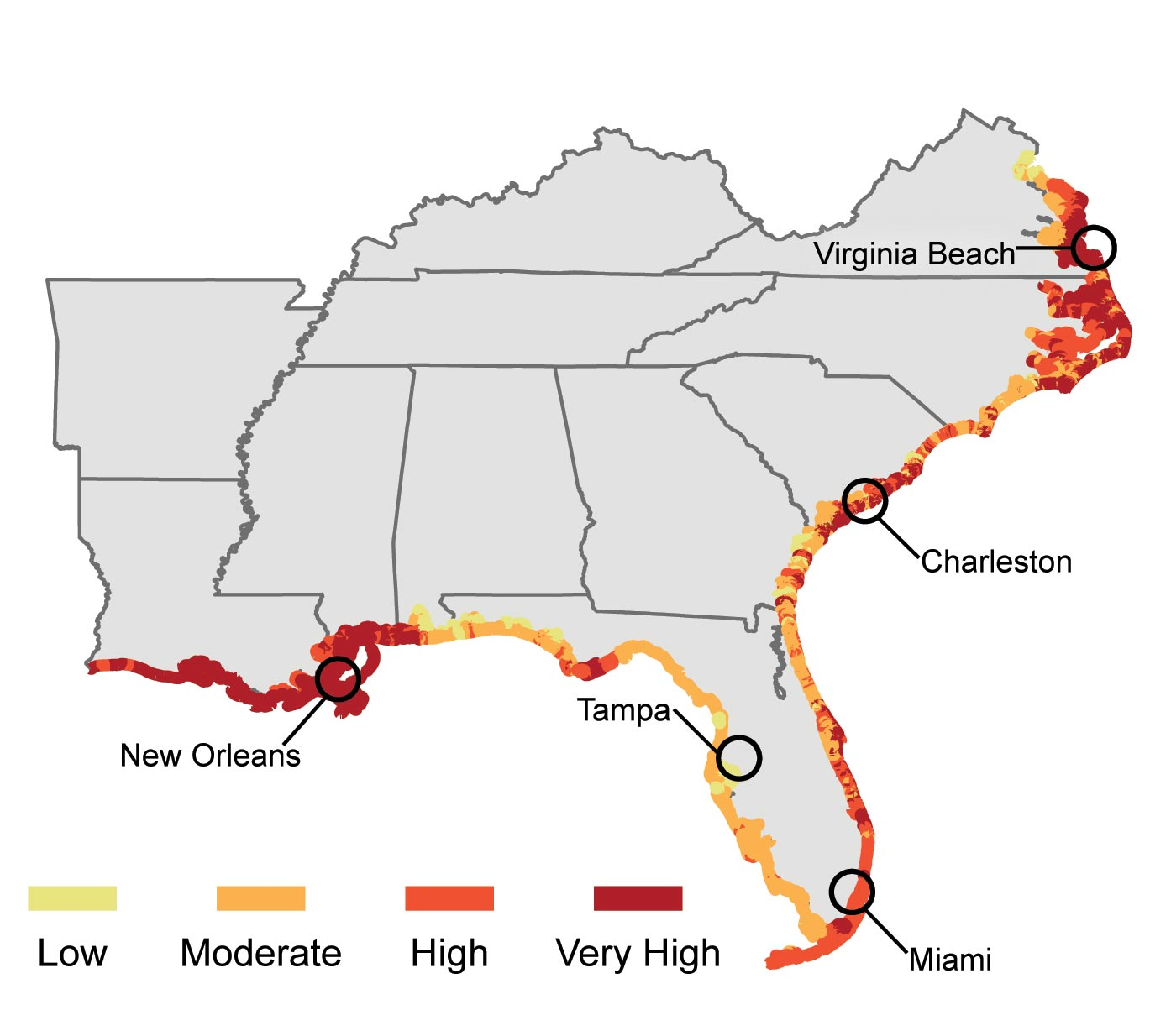Rising Water Levels Map Usa
