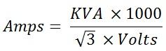 Three Phase Current Calculation Formula; Amps = KVA x 1000 / √3 x volts