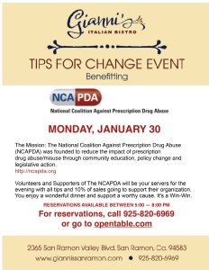 Tips for Change Fundraiser @ Gianni's Italian Bistro | San Ramon | California | United States