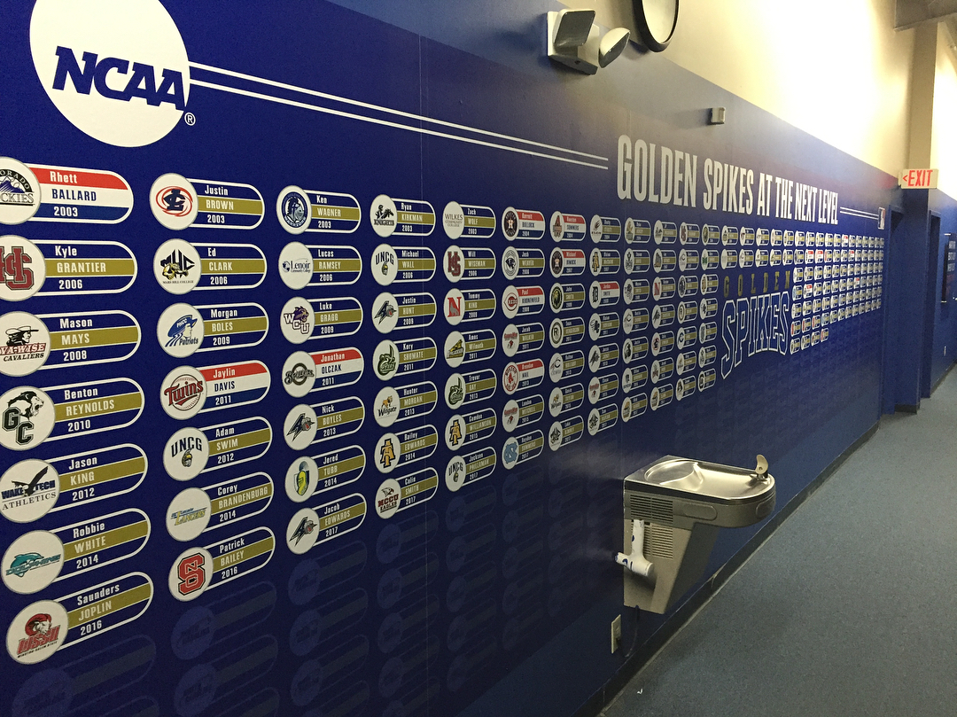 New look for the Golden Spikes player wall! Plenty ofhellip