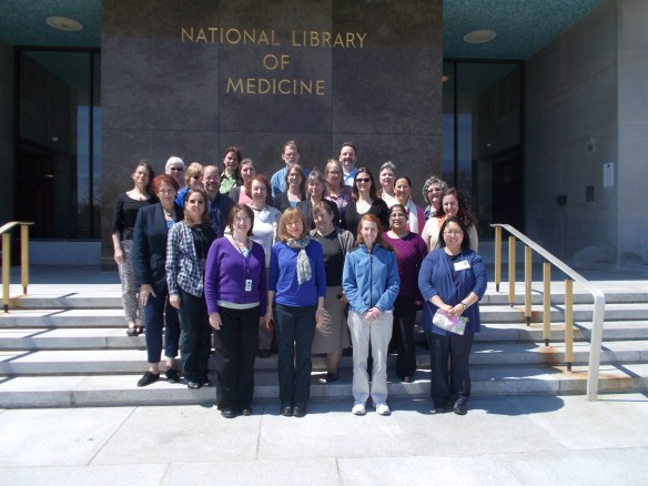 "Participants and instructors from the 2014 ""A Librarian's Guide to NCBI"" outside the National Library of Medicine."