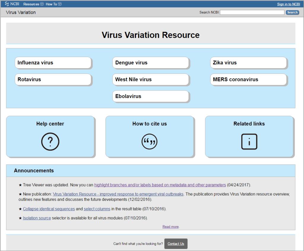 Virus Variation Homepage