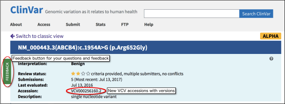 ClinVar variation page alpha view. Accession number & feedback tab are circled to highlight them.